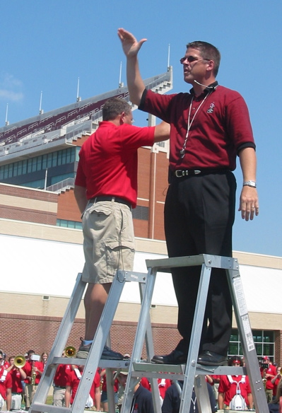 David & Brian on Ladder: OU/Houston game combined band rehearsal